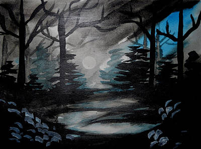 Black Painting - Moonlit Midnight Forest by Carol Crisafi