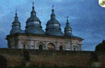 Romanian Painting - Moonlit Monastery by Jeff Kolker
