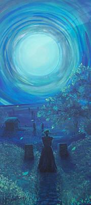 Cemetary Painting - Moonlit Mourning by Lori Ulatowski
