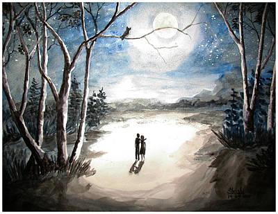 Moonlit Night Sweet Memory Art Print by Shashikanta Parida