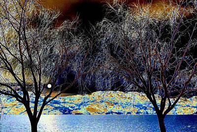 Moonlit Night Photograph - Moonlit Okanagan Lake by Will Borden
