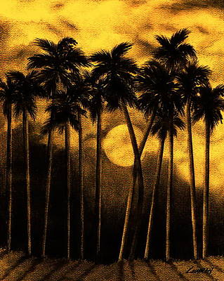 Moonlit Mixed Media - Moonlit Palm Trees In Yellow by Larry Lehman