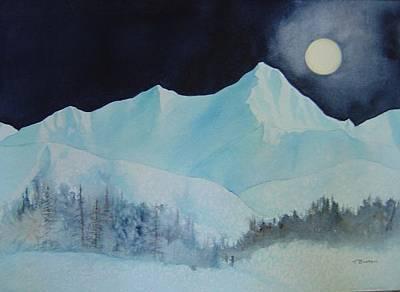 Painting - Moonlit Peak by Teresa Boston