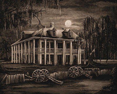 South Louisiana Painting - Moonlit Plantation In Sepia by Elaine Hodges