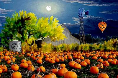Painting - Moonlit Pumpkin Patch by Ron Chambers