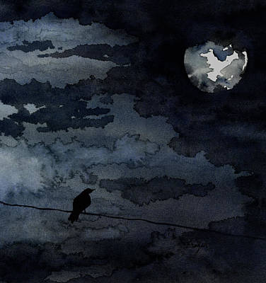 Mood Painting - Moonlit Raven by Brazen Design Studio