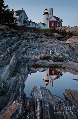 Photograph - Moonlit Reflection Of Pemaquid Light, New Harbor, Me #8118-21 by John Bald