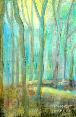 Silver Turquoise Painting - Moonlit Rubber Trees by Jane Gatward