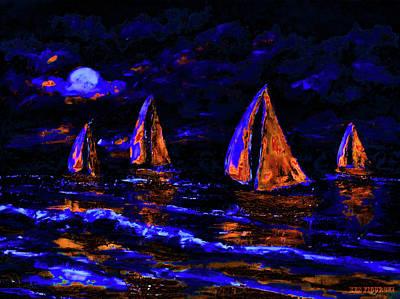 Ocean Sunset Mixed Media - Moonlit Sailing In Neon by Ken Figurski