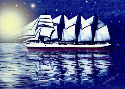 Moonlit Sails Print by Madeline  Allen - SmudgeArt