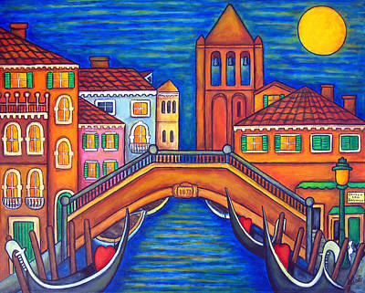 Italian Evening Painting - Moonlit San Barnaba by Lisa  Lorenz