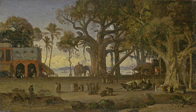 Fine Art India Painting - Moonlit Scene Of Indian Figures And Elephants Among Banyan Trees. Upper India by Auguste Borget