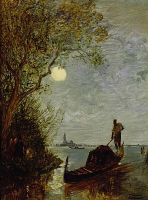 Moonlit Scene With Gondola Art Print by Felix Ziem