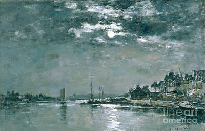 Shrouded Painting - Moonlit Seascape by Eugene Louis Boudin