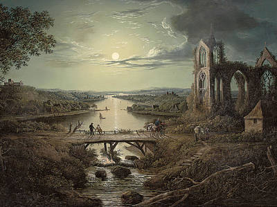 Moonlight Painting - Moonlit View Of The River Tweed With Melrose Abbey In The Foreground And Figures On A Bridge by Abraham Pether