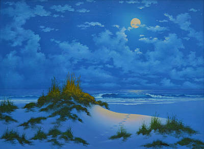 Painting - Moonlit Walk by Kenneth F Aunchman