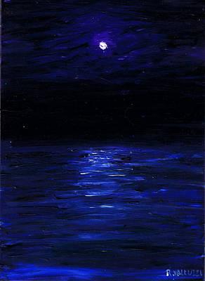 Painting - Moonlit Water Mini Oil Painting On Masonite by Regina Valluzzi