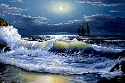 Lighthouse At Night Painting - Moonlit Wave by Ron Chambers