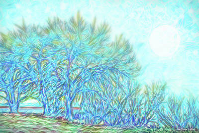 Art Print featuring the digital art Moonlit Winter Trees In Blue - Boulder County Colorado by Joel Bruce Wallach