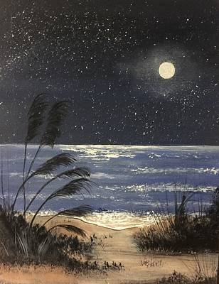 Painting - Moonlite Beach by Janet Jackson