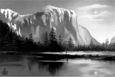 Rivers In The Fall Painting - Moonlit Yosemite Lake by Ron Chambers