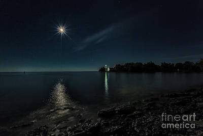 Photograph - Moonllight Over Pointe Traverse by Roger Monahan