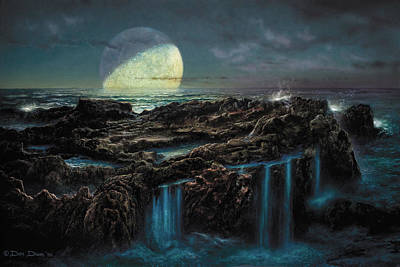 Astronomical Art Painting - Moonrise 4 Billion Bce by Don Dixon