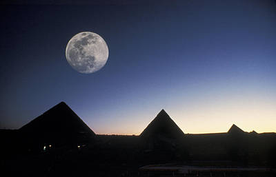 Moonrise Above Giza Pyramids In Egypt Art Print by Richard Nowitz