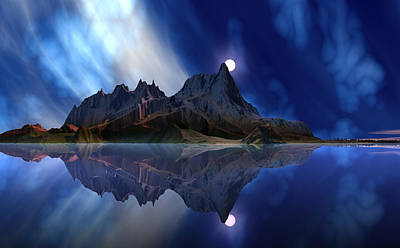 Planet Digital Art - Moonrise Accension Island. by David Jackson