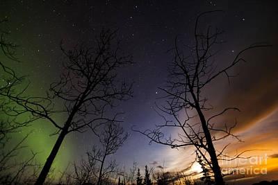 Photograph - Moonrise And Aurora Borealis, Yukon by Philip Hart