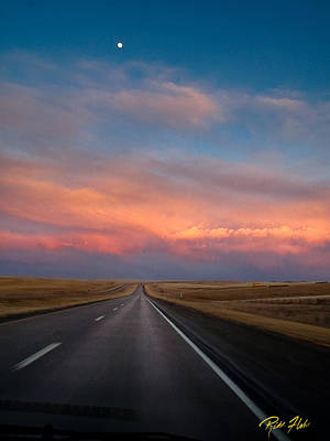 Photograph - Moonrise And Sunset On I-90 by Rikk Flohr