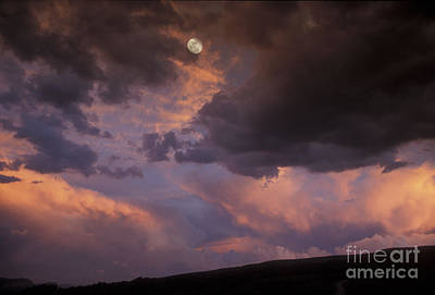 Moonrise And Sunset Print by Sandra Bronstein