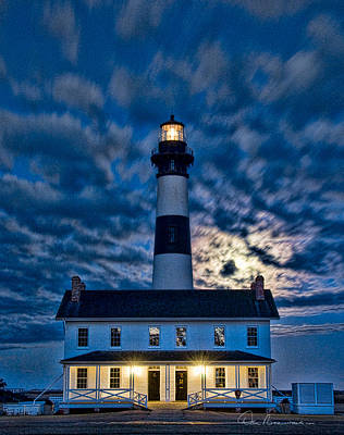 Dan Beauvais Royalty-Free and Rights-Managed Images - Moonrise at Bodie Island Light 5061 by Dan Beauvais