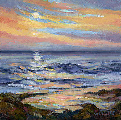Painting - Moonrise At Cabrillo Beach by Jane Thorpe