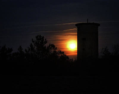 Photograph - Moonrise At Fire Control Tower 1 At Fenwick Island by Bill Swartwout