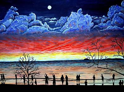 Moonrise At Sunset Painting - Moonrise At Sunset by Y S