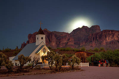 Photograph - Moonrise At Superstition Mountain by Trish VanHousen