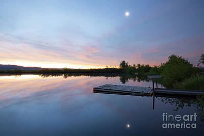 Photograph - Moonrise At The Fishing Pond by Idaho Scenic Images Linda Lantzy