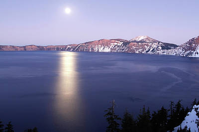 Photograph - Moonrise At Twilight, Crater Lake Np, Oregon by Robert Mutch