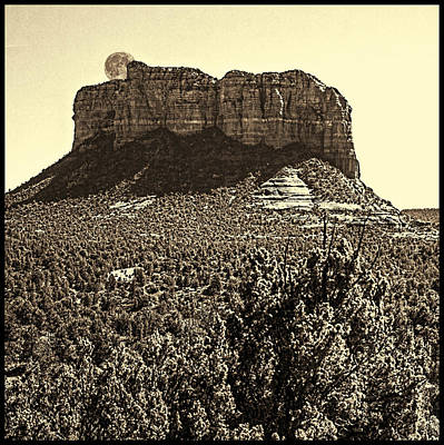 Photograph - Moonrise Behind Courthouse Butte Sedona Arizona by Roger Passman