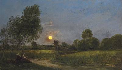 Meadow Painting - Moonrise by Charles Francois Daubigny