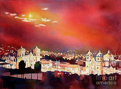 Religious Artist Painting - Moonrise Cusco- Peru by Ryan Fox
