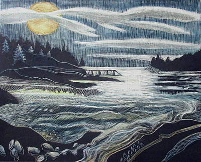 Drawing - Moonrise, Duck Harbor by Grace Keown