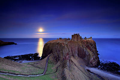 Moonlit Photograph - Moonrise Dunnottar Castle Aberdeenshire Scotland by Angus Clyne