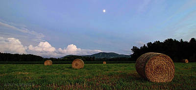 Bales Photograph - Moonrise Hayfield by Jerry LoFaro