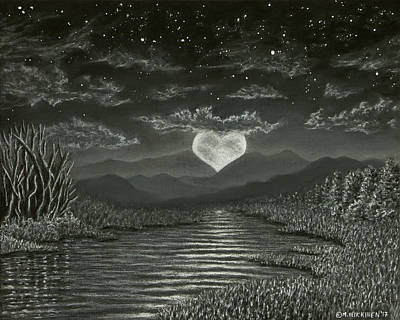Pastel - Moonrise Heart 01 by Michael Heikkinen