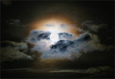 Photograph - Moonrise In Glowing Clouds by Kathryn Meyer