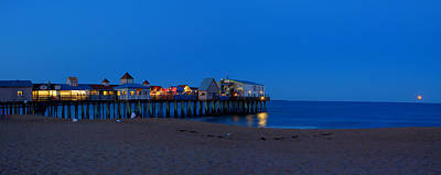 Moonrise In Old Orchard Beach Art Print by David Bishop