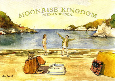 Kingdom Painting - Moonrise Kingdom Poster From Watercolor by Juan  Bosco