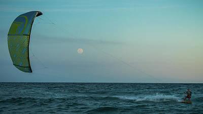 Photograph - Moonrise Kiteboarder Delray Beach Florida by Lawrence S Richardson Jr